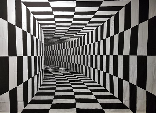 Illusionsbild - Karo Tunnel 1 - handgemalt